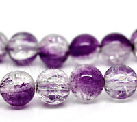 Purple Plum Wholesale 10mm Round Crackle Glass Beads G2241 - 20, 50 Or 100PCs