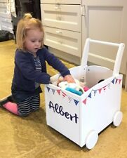 Toy Box Kids Walker Trolley Red White & Blue Bunting Personalised