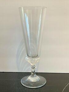 """Lalique France Crystal Signed Trumpet Vase 10 1/8"""" High"""