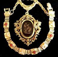 Vtg d-Parure GOLDETTE INTAGLIO Cameo Necklace w/ Sgn ART Goldette-style Bracelet