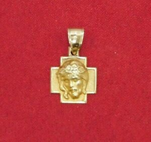 14k 585 Yellow Gold Italian Christian Jesus Head Pendant for a Necklace ~ 1.9 Gr