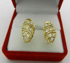 Casual REAL 14K Yellow GOLD with Simulated Diamond EARRINGS LATCH BACK
