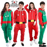 Unisex Mens Ladies Green ELF Red SANTA Christmas XMAS Onesie All In ONE Jumpsuit