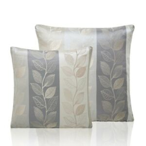 LINEN LEAF Floral Nature Jacquard Weave Modern Leaf Unfilled Cushion Cover Taupe