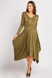 RAINBOW @ Bonprix Olive Stretch Long Sleeve Hanky Hem Dress Size XL 20-22 New
