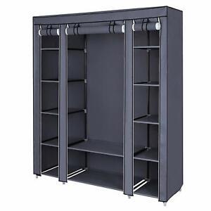 59 Inch DIY Closet Organizer Portable Wardrobe with Non-Woven Fabric Grey