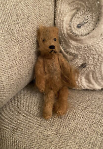 Darling Antique Primitive Mohair Teddy Bear Miniature 5-Jointed Brown Handmade?