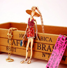 Women Betsey Johnson Jewelry Pendant Rhinestone Bag girl Chain Fashion Necklaces