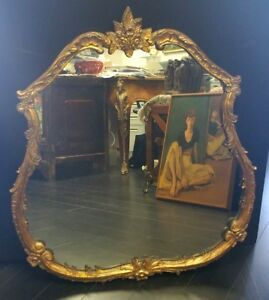 Antique Rococo Style Carved Handmade Gilt Wood Original Mirror