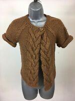 Girl's Zara Knitwear Brown Chunky Knitted Short Sleeve Cardigan Size XL 162cm
