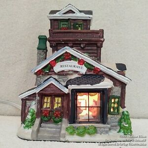 NEW Lighted HOUSE CHRISTMAS DISPLAY WINTER VILLAGE RESTAURANT CABIN LIKE HOUSE