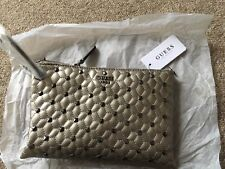 BNWT Genuine Guess Pewter/Bronze Studded Small Zipped Bag