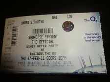 Usher Official After Party Used Concert Ticket - February 2011 at O2 London