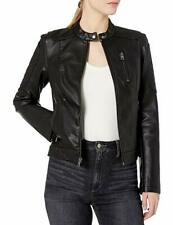 Levi's Women's Faux Leather Fashion Quilted Racer Jacket, Black, X-Small