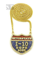 "HIP HOP ICED BUST DOWN I-10 DOPE ZONE PENDANT & 36"" CUBAN LINK CHAIN NECKLACE"