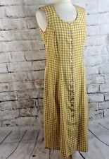 "Vintage C&A gingham brown shirt shift dress size 12 bust 37"" check retro midi"