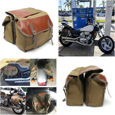 Motorcycle Canvas+leather Universal Saddle Bags Rider Motorbike Panniers Luggage