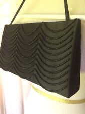 Victoria Secret Black Beaded Women's clutch With Strap Handle purse