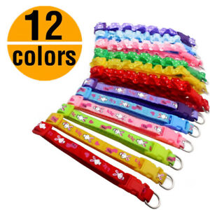 12PCS Colours Small Dog Puppy Cat Collar W/Bell Necklace Gift Collars Wholesale