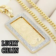 """14K GOLD PLATED HIPHOP GOLD FRAME PENDANT 30""""CUBAN LINK CHAIN 35g IP20"""