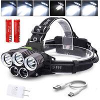 90000LM 5X XM-L T6 LED Headlamp Head Light Flashlight Head Torch 2x Battery
