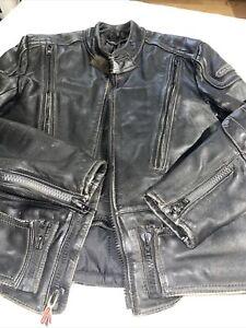 HEIN GERICKE ECHT LEDER Leather moto jacket BLACK Mens 42 riding biker coat