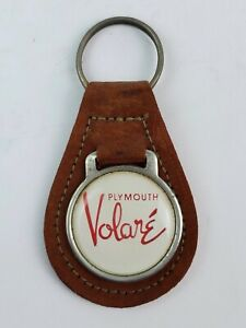 Vintage Plymouth Volare brown leather Keychain FOB metal coin back