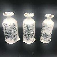 Vintage Enesco Japan Set Footed Measuring Cups Farm Barn Scenes Upside Down PY1