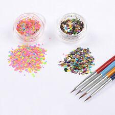 Nail Art Thin Paillette Glitter Powder Drawing Brush DIY Decoration 6Pcs/set
