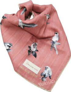 Paul & Joe Sister Japan Hankerchief Vintage Bird Stripes Pattern-Dirty Pink-42cm