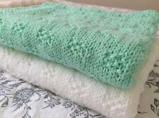 Knitting pattern-  Moss Checks Baby Blanket