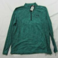 Under Armour Fitted Threadborne Green Zip Pullover Breathable Shirt Top L NWT