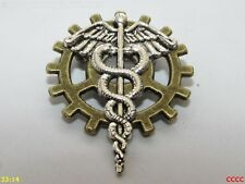 steampunk brooch badge pin cog gearwheel silver caduceus Rod of Hermes Asclepius