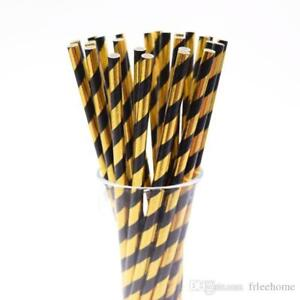"""20 Gold And Black Striped Paper Straws 8"""" (20cm) Biodegradable Compostable 6mm"""