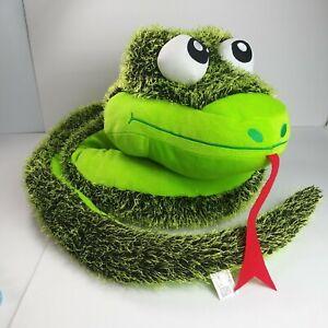 "Fiesta big head Snake Plush 80"" fuzzy floppy huge green"