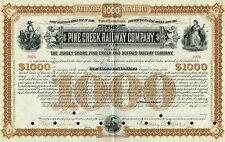 USA PINE CREEK RAILWAY COMPANY stock certificate SIGNED BY VANDERBILT & DEPEW