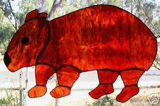 DESERT WOMBAT Suncatcher Arty Stained Glass LEADLIGHT Autumn tones Red Amber