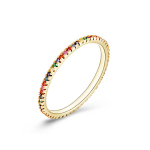 Sterling Silver Gold Plated Full Eternity Rainbow 1mm CZ Crystal Stacking Ring
