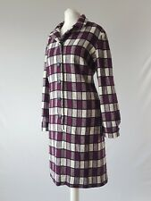 Vintage 70s Wool Dress Midi Check Warm Shift Bold Tartan Long Sleeve Uk 14-16