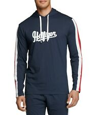 Tommy Hilfiger Mens Sleepwear Blue Red Large L Sleeve Stripe Logo Hoodie 215