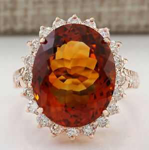 13.79 Carat Natural Citrine 14K Rose Gold Diamond Ring