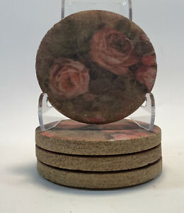 """Set of 4- Thirsty Stone 4"""" Stone Coasters with a Rose Print"""