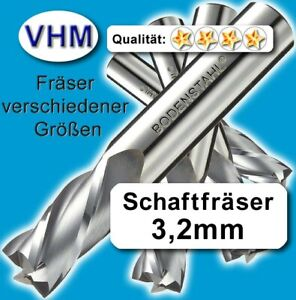 Schaftfräser 3,2mm f. Kunststoff Holz Vollhartmetall scharf geschliffen 65mm Z=1