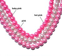 a string glass pearl beads, pink, hot pink, and baby pink, 6 mm & 8 mm