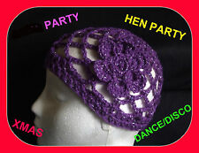 NEW SPARKLY  PURPLE CROCHET HAT HEN  PARTY 1970s DISCO DANCE fancy Dress abba
