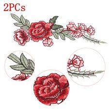 2pcs broderies rose fleurs applications craft diy recousu patch hat jean robe