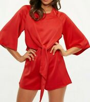 MISSGUIDED Red Kimono Sleeve Tie Front Playsuit UK 6 US 2 EU 34 (camg170)