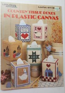 Plastic Canvas Pattern Leaflet #411 Make 6 Country Tissue Boxes by Leisure Arts