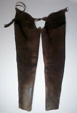 "Vtg ""Practical Choice"" Leather Adjustable Waist Western Riding Cowboy Chaps S/L"