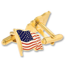 Cufflinks - Gold or Silver Waving American Flag Usa Patritoic